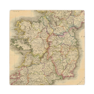 Ireland map wood coaster