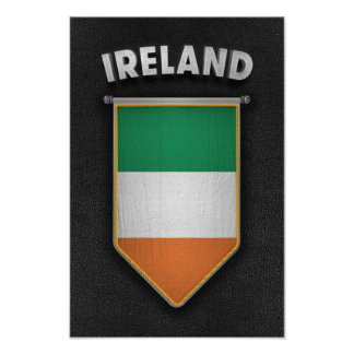 Ireland Pennant with high quality leather look Poster