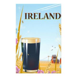 Ireland pint landscape travel poster stationery