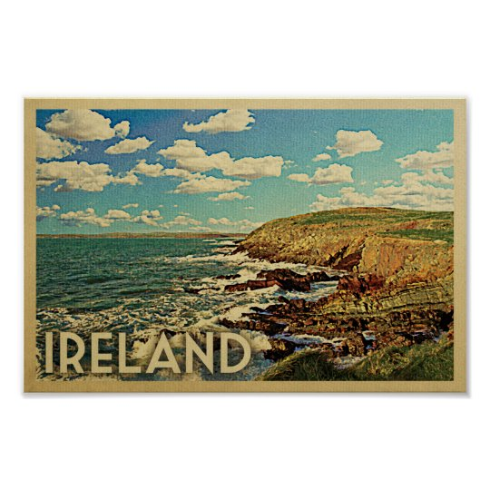 Ireland Poster Vintage Travel Print Irish Coast