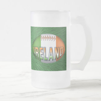 Ireland Rugby Ball Frosted Glass Beer Mug