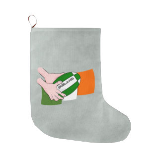 Ireland Rugby Team Supporters Flag With Ball Large Christmas Stocking