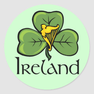 Ireland Shamrock and Harp Round Sticker
