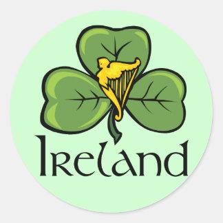 Ireland Shamrock and Harp Round Stickers