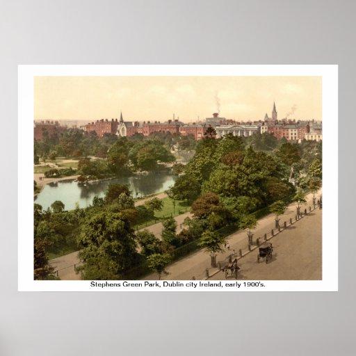 Ireland - Stephens Green Park, Dublin city Poster