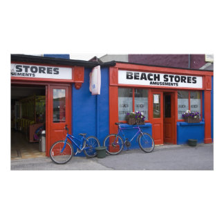 Ireland, Strandhill. Storefronts with bicycles Photo Print