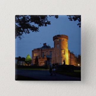 Ireland, the Dromoland Castle lit at dusk, 15 Cm Square Badge