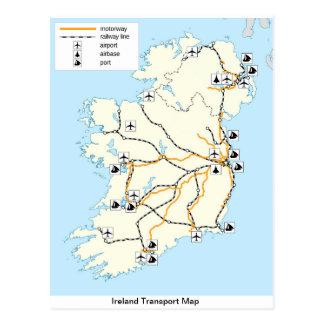 Ireland Transport Map,  Irish postcard. Postcard