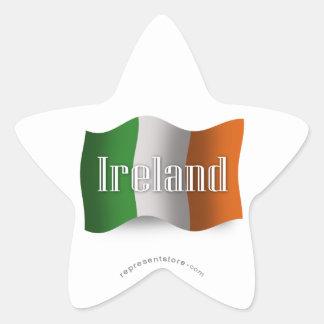 Ireland Waving Flag Star Sticker