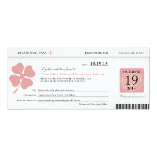 Ireland Wedding Boarding Pass 10 Cm X 24 Cm Invitation Card