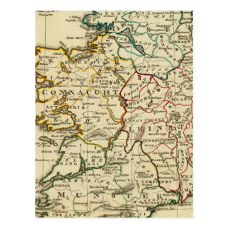 Ireland with boundaries outlined postcard