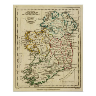 Ireland with boundaries outlined print