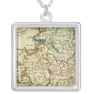 Ireland with boundaries outlined silver plated necklace