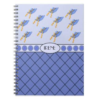 Irene Personalized Blue Fashion Hat Notebook