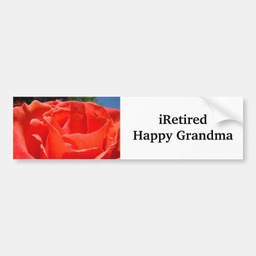 iRetired bumper stickers Happy Grandma Red Rose