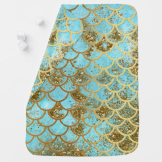 Iridescent Blue Gold Glitter Mermaid Fish Scales Baby Blanket