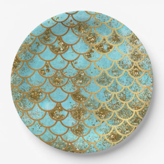 Iridescent Blue Gold Glitter Mermaid Fish Scales Paper Plate