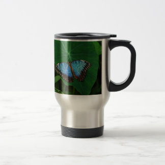 Iridescent Blue with Black Butterfly Wings Travel Mug