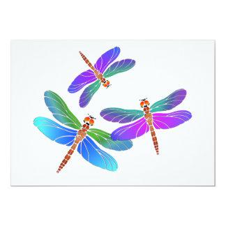 Iridescent Dive Bombing Dragonflies 13 Cm X 18 Cm Invitation Card