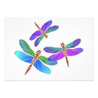 Iridescent Dive Bombing Dragonflies Custom Invite