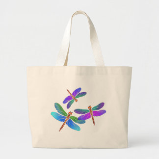 Iridescent Dive Bombing Dragonflies Large Tote Bag