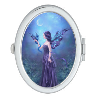 Iridescent Dragon & Fairy Oval Compact Mirror