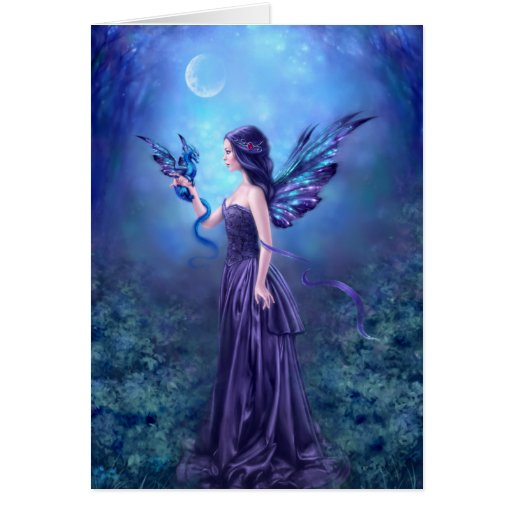 Iridescent Fairy & Dragon Art Greeting Card Cards