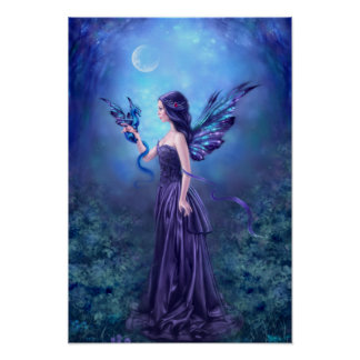 Iridescent Fairy & Dragon Poster Art Print