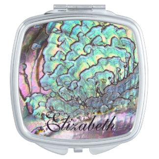 Iridescent Natural Jewel Abalone Mother of Pearl Makeup Mirror