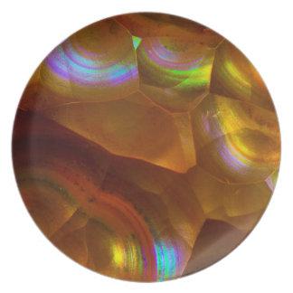 Iridescent orange fire opal dinner plate