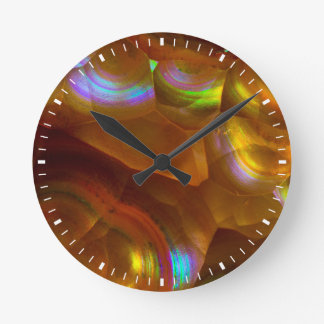 Iridescent orange fire opal round clock