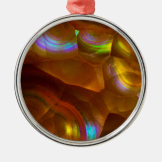 Iridescent orange fire opal Silver-Colored round decoration