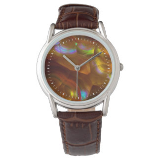 Iridescent orange fire opal watch