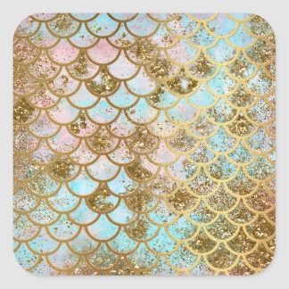 Iridescent Pink Gold Glitter Mermaid Fish Scales Square Sticker