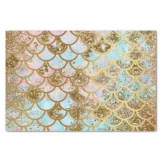 Iridescent Pink Gold Glitter Mermaid Fish Scales Tissue Paper