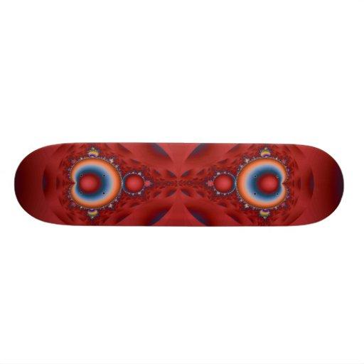 Iridescent Red Fractal Skateboard Deck