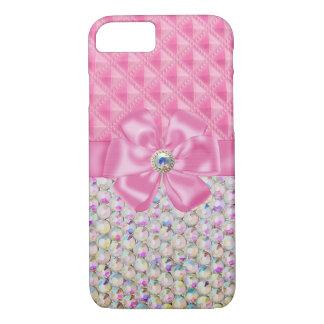 Iridescent Rhinestones Ribbon Bows iPhone 7 case