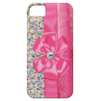 Iridescent Rhinestones Ribbon Bows Iphone Case Barely There iPhone 5 Case