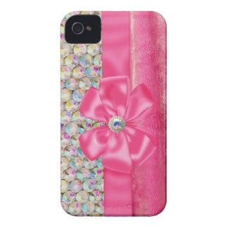 Iridescent Rhinestones Ribbon Bows Iphone Case Case-Mate iPhone 4 Cases