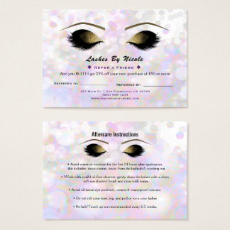 Iridescent Shimmer Lashes Refer Friend Aftercare Business Card