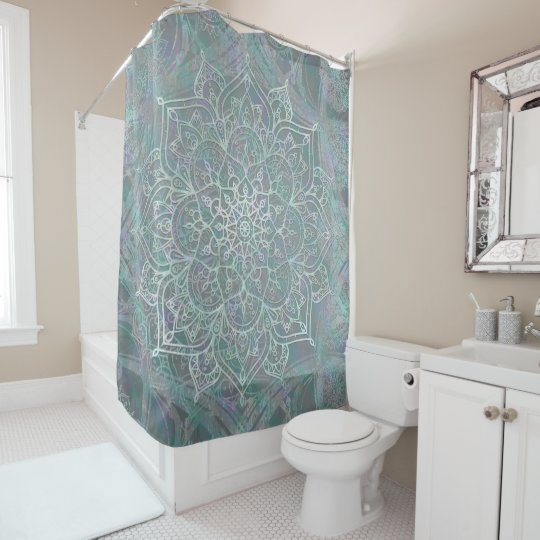 Iridescent Shimmer Mandala Boho Chic Shower Curtain