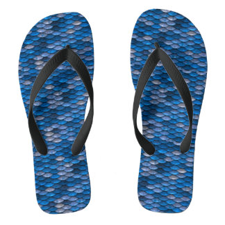 Iridescent Shiny Blue Mermaid Fish Scales Flip Flops