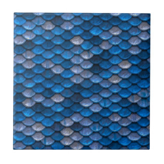 Iridescent Shiny Blue Mermaid Fish Scales Tile