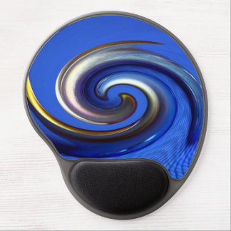 Iridescent Silver Blue Oval Swirl Abstract Gel Mouse Pad