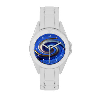 Iridescent Silver Blue Swirl Abstract Wrist Watches