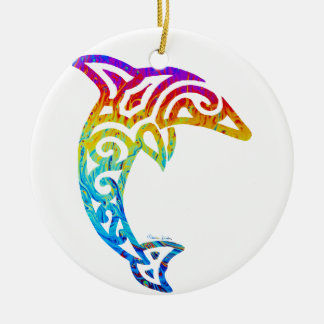 Iridescent Tribal Dolphin Christmas Ornament