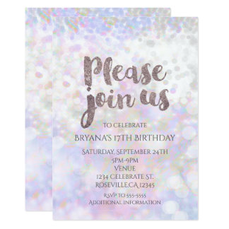 Iridescent White Sparkle Glam Party Invitations