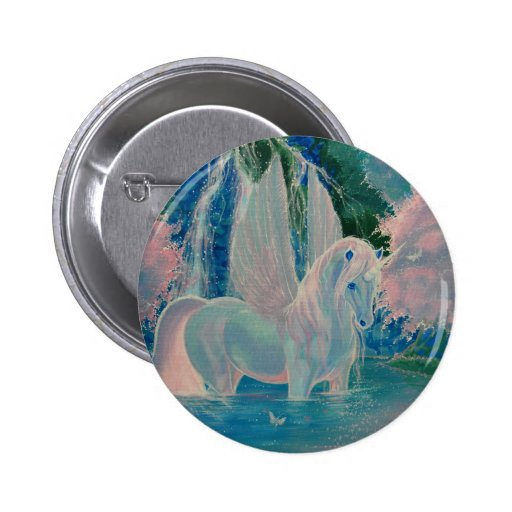 """Iridescent World"" Winged Unicorn Badge / Button"