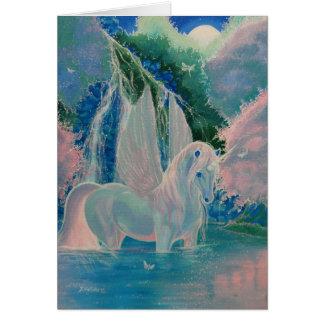 """Iridescent World"" Winged Unicorn Greeting Card"