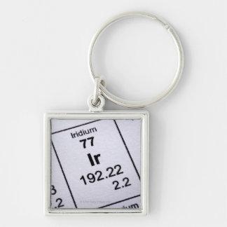 Iridium molecular formula Silver-Colored square key ring